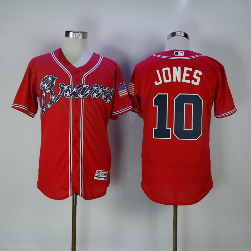 2017 MLB Atlanta Braves 10 Jones Red Elite Jerseys