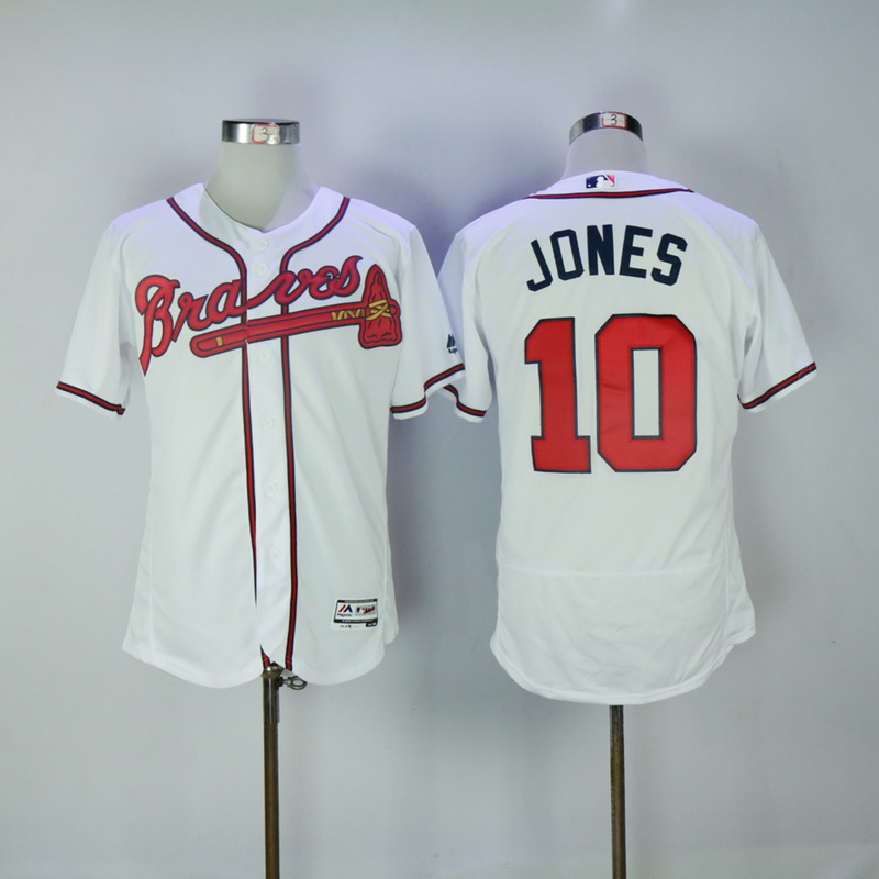 2017 MLB Atlanta Braves 10 Jones White Elite Jerseys