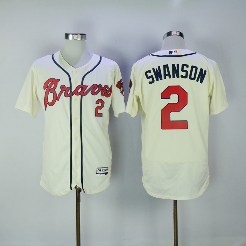 2017 MLB Atlanta Braves 2 Swanson Cream Elite Jerseys
