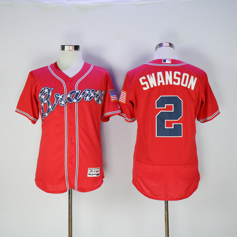 2017 MLB Atlanta Braves 2 Swanson Red Elite Jerseys