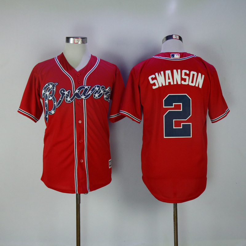 2017 MLB Atlanta Braves 2 Swanson Red Game Jerseys