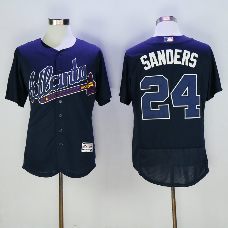 2017 MLB Atlanta Braves 24 Sanders Blue Elite Jerseys