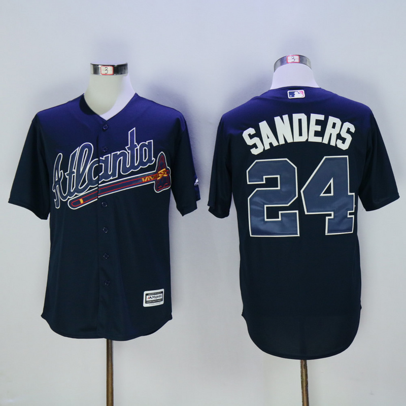 2017 MLB Atlanta Braves 24 Sanders Blue Throwback Jerseys
