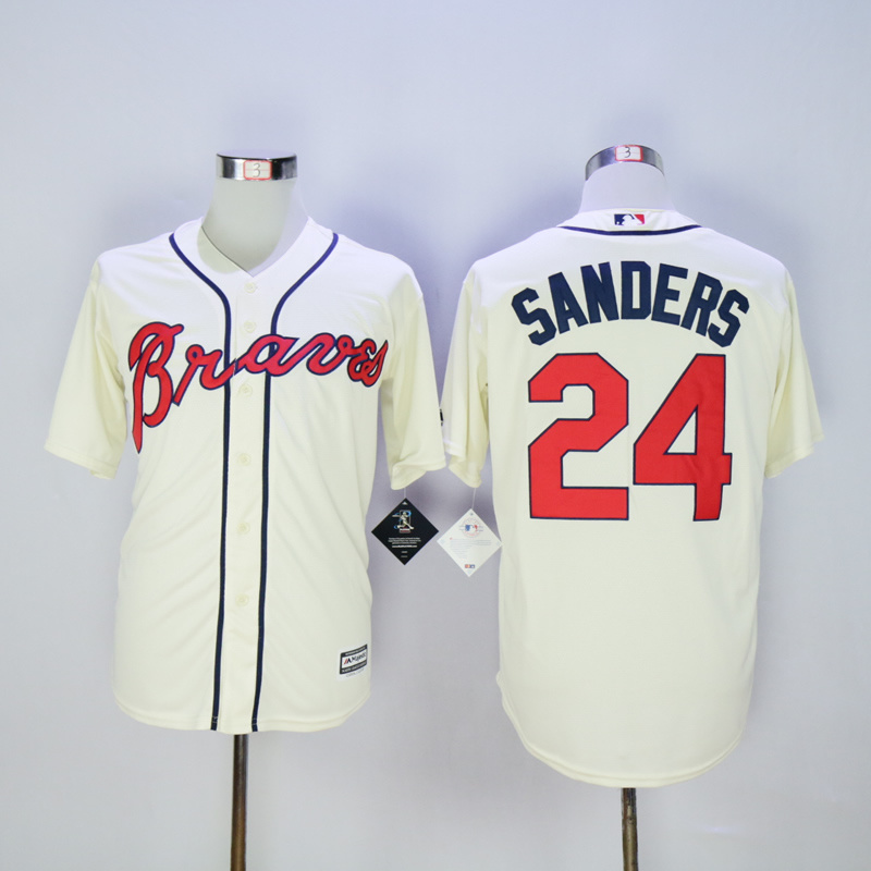2017 MLB Atlanta Braves 24 Sanders Cream Throwback Jerseys