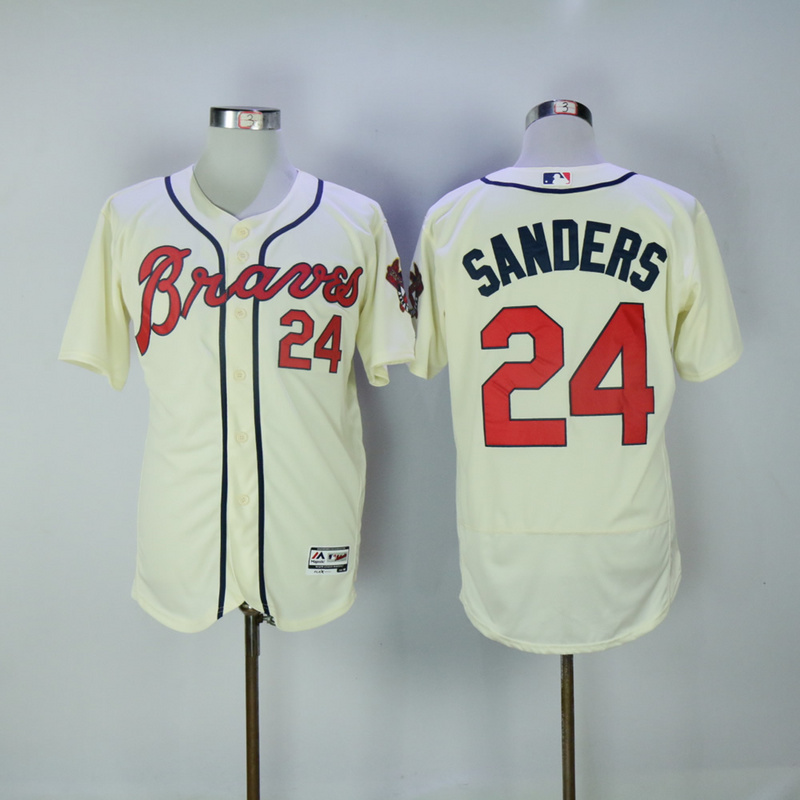 2017 MLB Atlanta Braves 24 Sanders cream Elite Jerseys