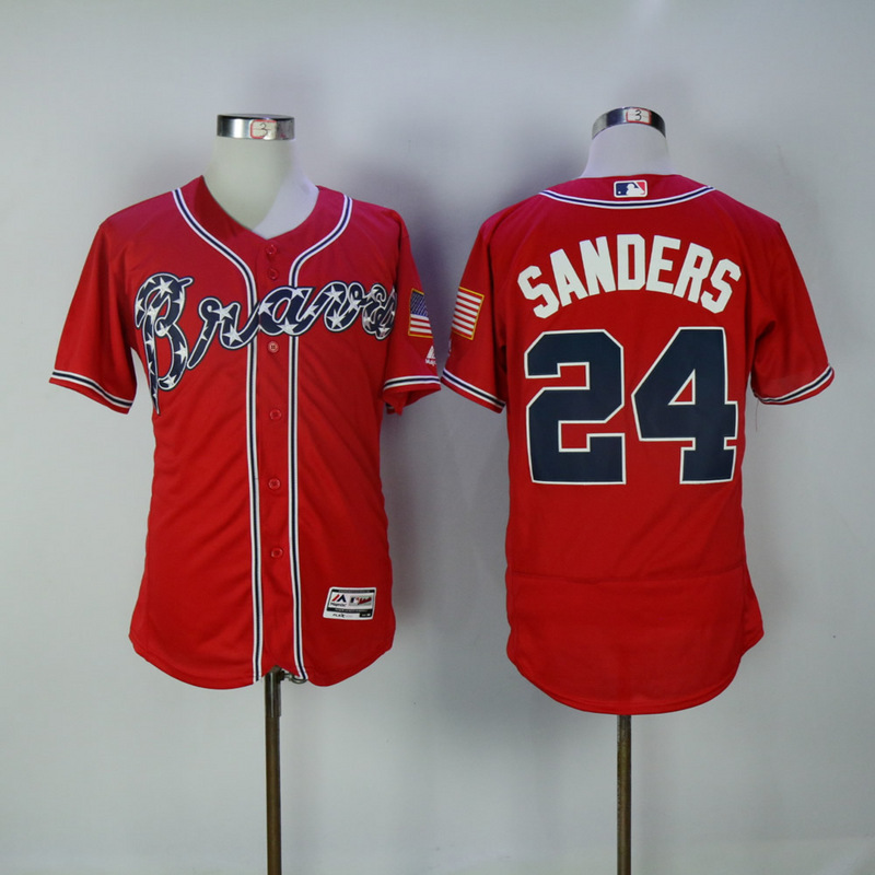 2017 MLB Atlanta Braves 24 Sanders Red Elite Jerseys