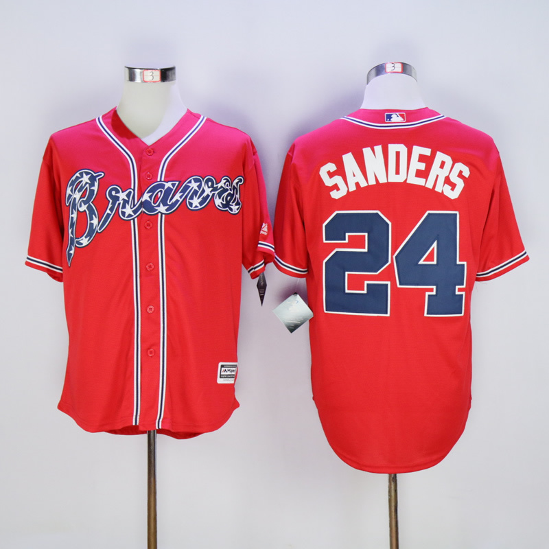 2017 MLB Atlanta Braves 24 Sanders Red Throwback Jerseys