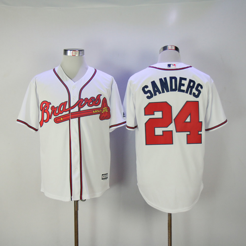 2017 MLB Atlanta Braves 24 Sanders White Game Jerseys