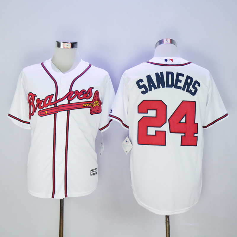 2017 MLB Atlanta Braves 24 Sanders White Throwback Jerseys