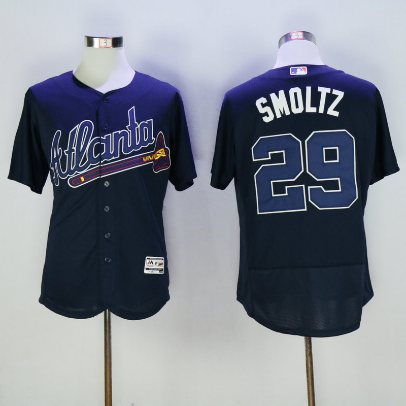 2017 MLB Atlanta Braves 29 Smoltz Blue Elite Jerseys