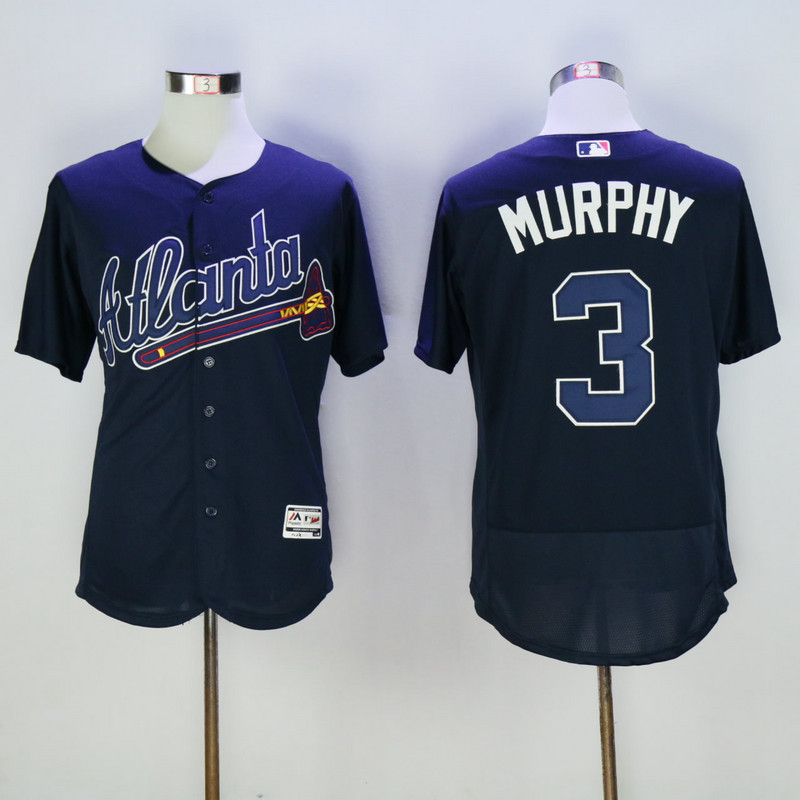 2017 MLB Atlanta Braves 3 Murphy Blue Elite Jerseys