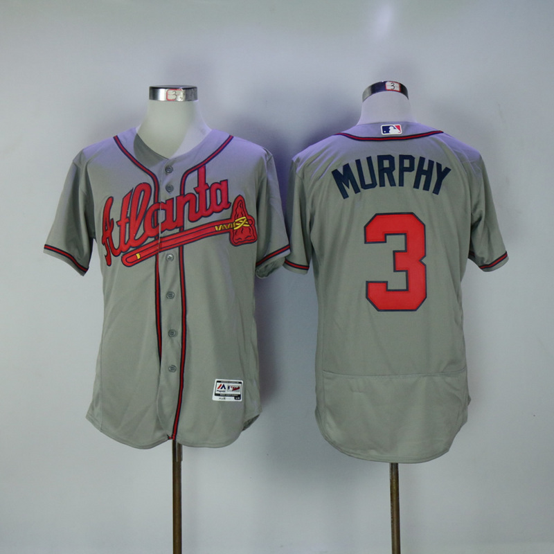 2017 MLB Atlanta Braves 3 Murphy Grey Elite Jerseys