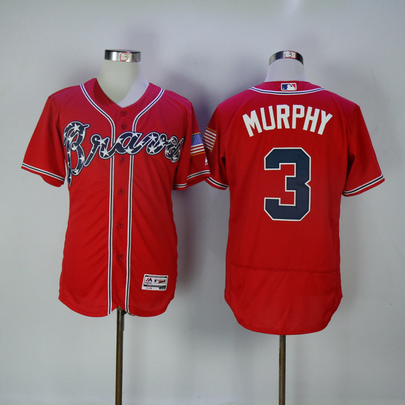 2017 MLB Atlanta Braves 3 Murphy Red Elite Jerseys