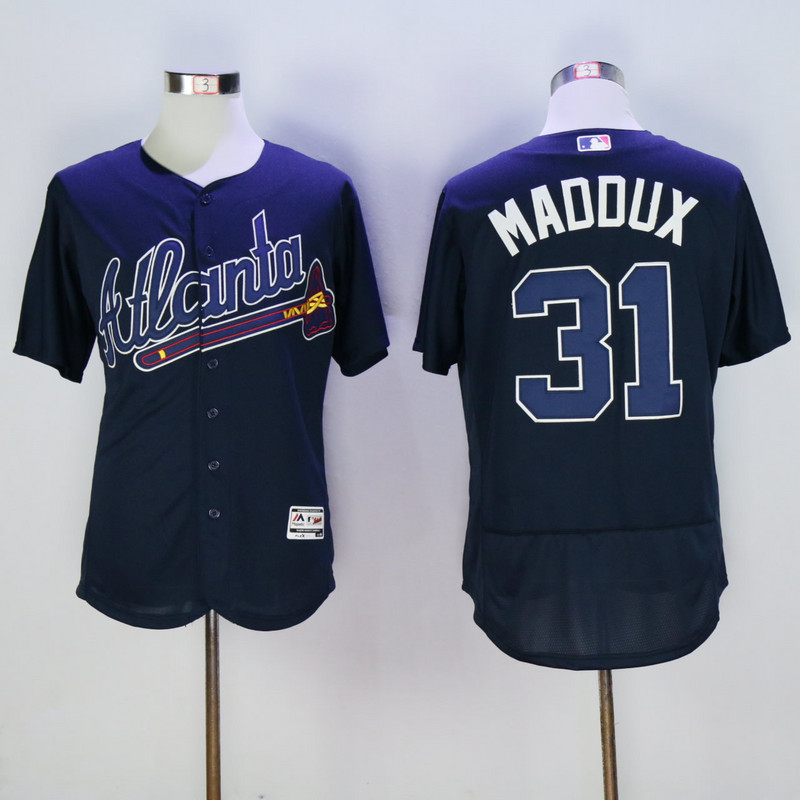 2017 MLB Atlanta Braves 31 Maddux Blue Elite Jerseys