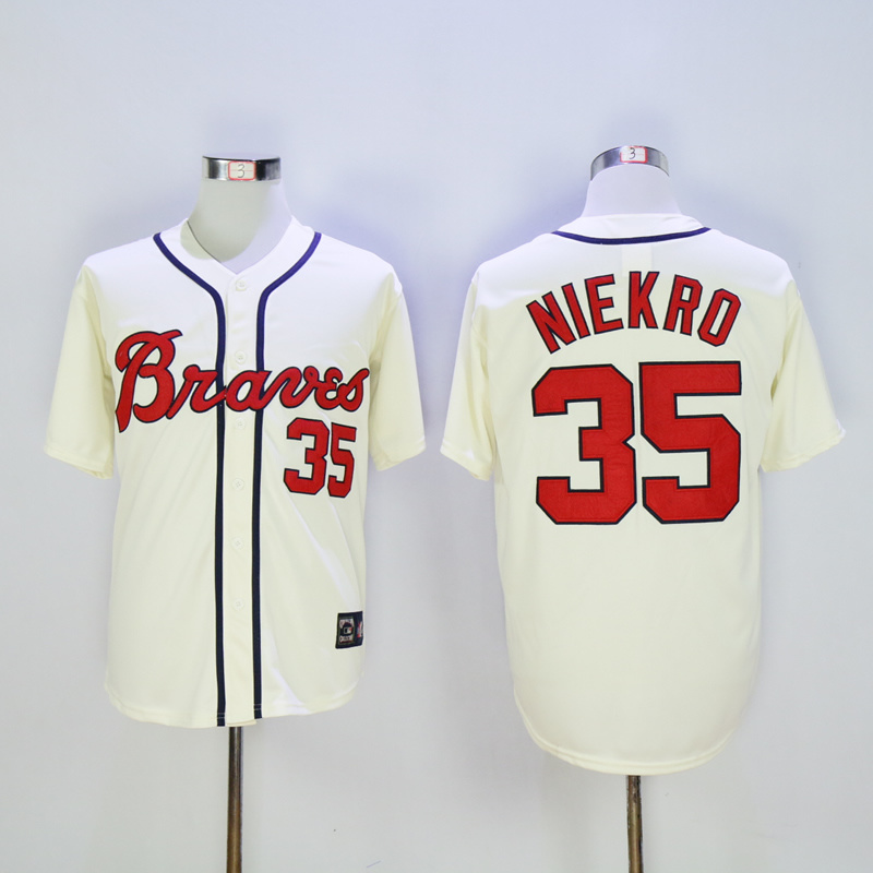 2017 MLB Atlanta Braves 35 Niekro Cream ThrowbackJerseys