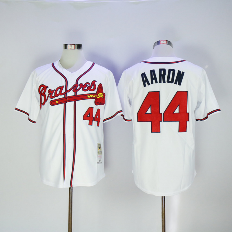 2017 MLB Atlanta Braves 44 Aaron White 1974 Throwback Jerseys
