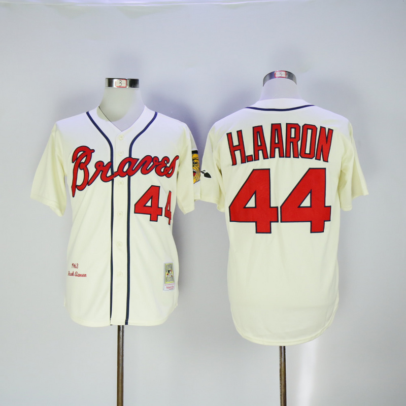 2017 MLB Atlanta Braves 44 H.Aaron Cream 1963 Throwback Jerseys