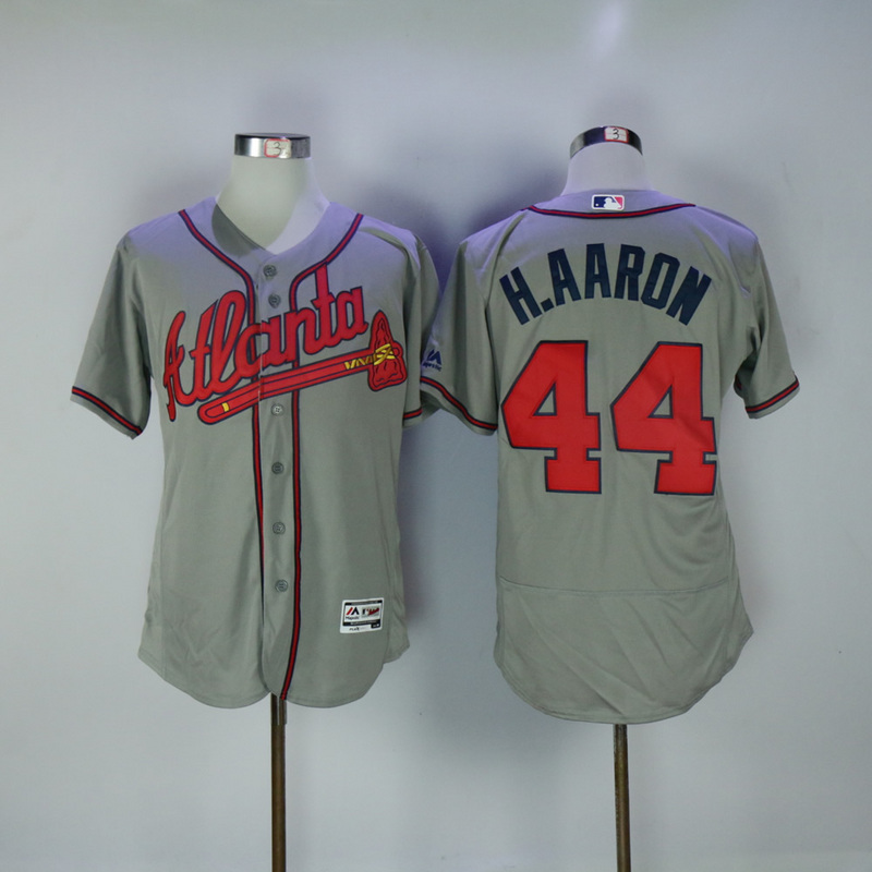 2017 MLB Atlanta Braves 44 H.Aaron Grey Elite Jerseys