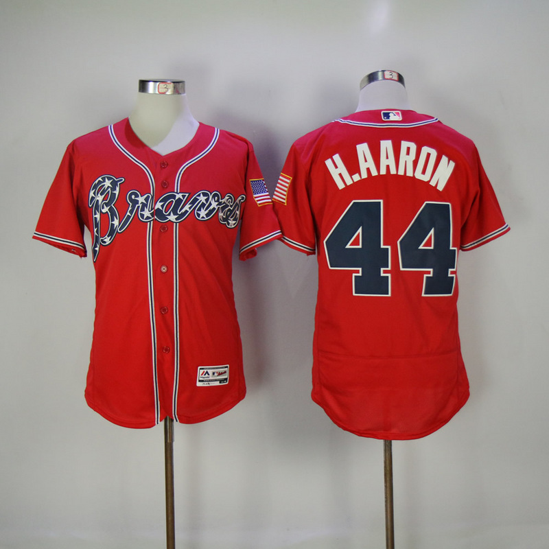 2017 MLB Atlanta Braves 44 H.Aaron Red Elite Jerseys