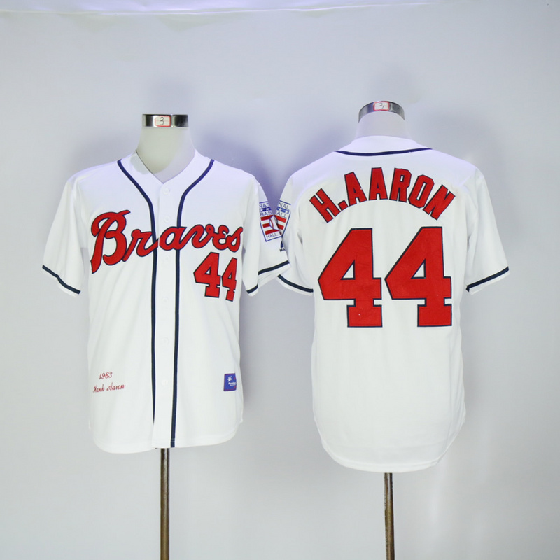 2017 MLB Atlanta Braves 44 H.Aaron White 1963 Throwback Jerseys