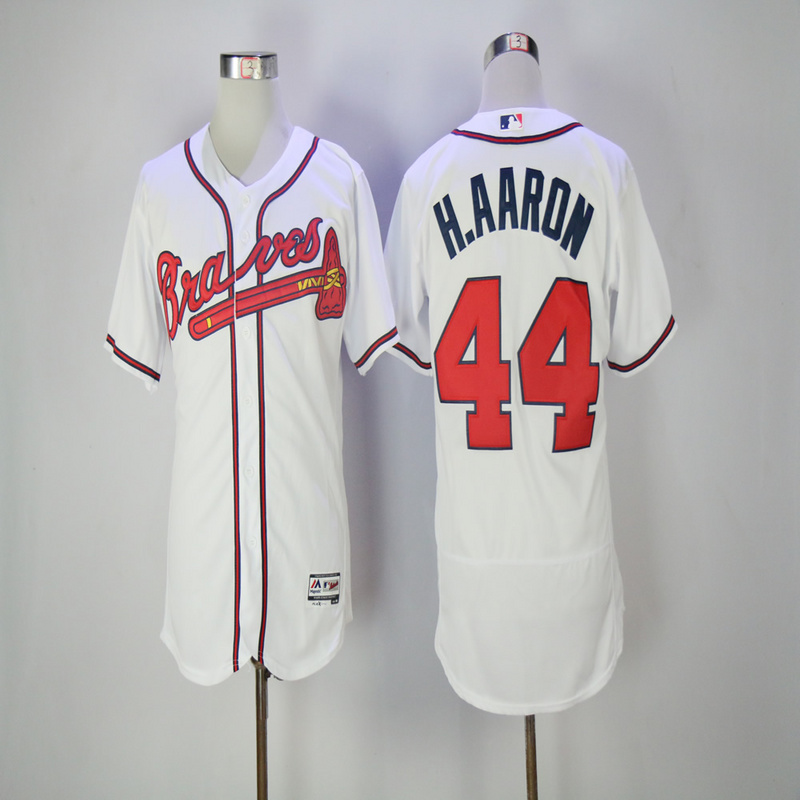2017 MLB Atlanta Braves 44 H.Aaron White Elite Jerseys