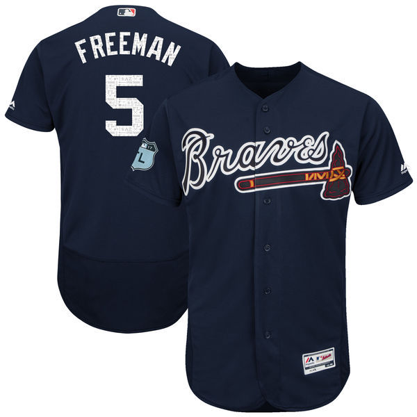 2017 MLB Atlanta Braves 5 Freeman Blue Jerseys