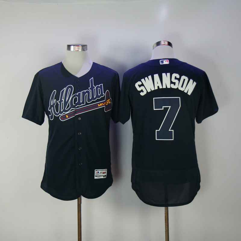 2017 MLB Atlanta Braves 7 Swanson Blue Elite Jerseys