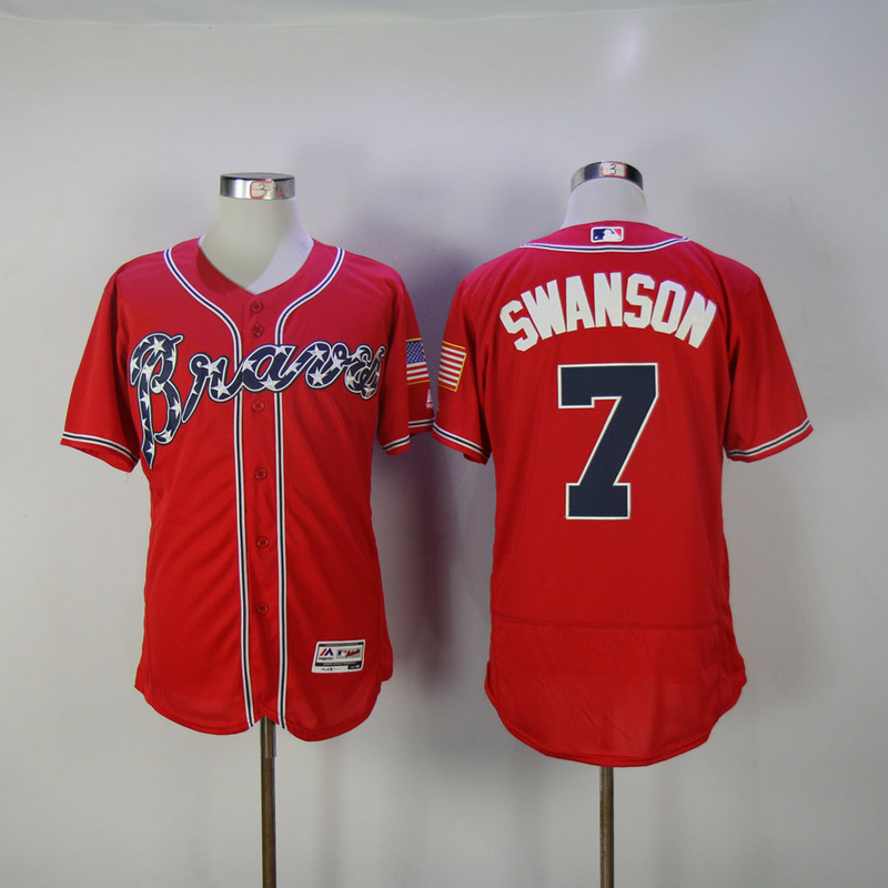 2017 MLB Atlanta Braves 7 Swanson Red Elite Jerseys