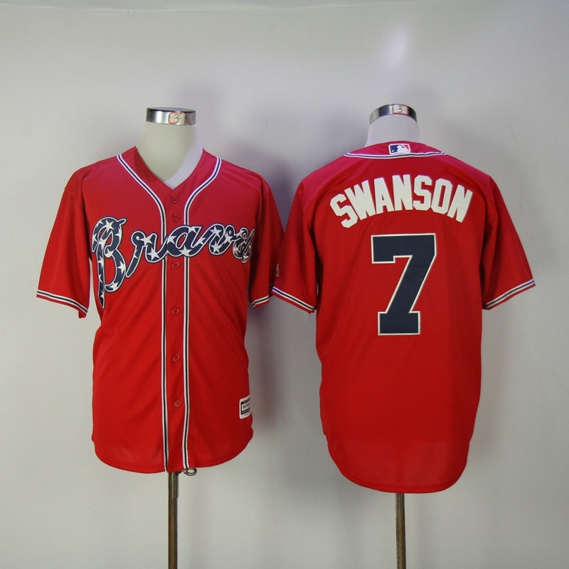 2017 MLB Atlanta Braves 7 Swanson Red Game Jerseys