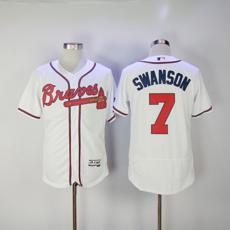 2017 MLB Atlanta Braves 7 Swanson White Elite Jerseys