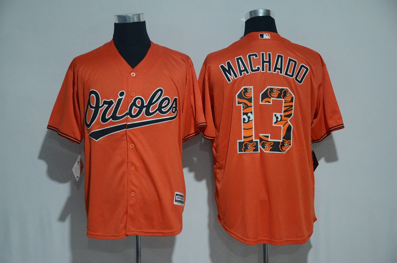 2017 MLB Baltimore Orioles 13 Machado Orange Fashion Edition Jerseys
