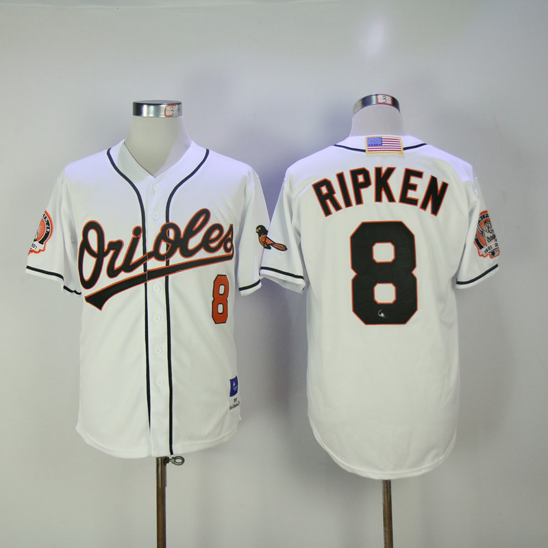 2017 MLB Baltimore Orioles 8 Ripken White Throwback Jerseys