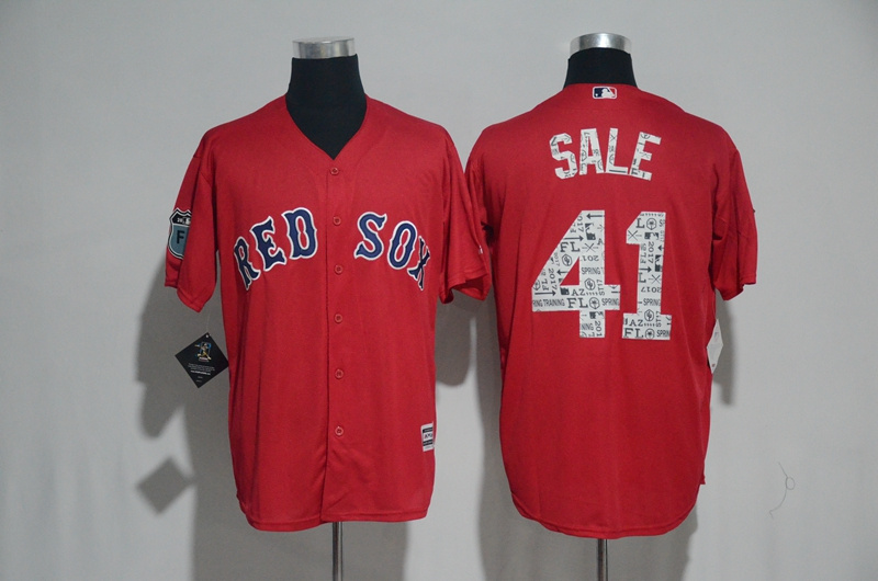 2017 MLB Boston Red Sox 41 Sale Red Fashion Edition Jerseys
