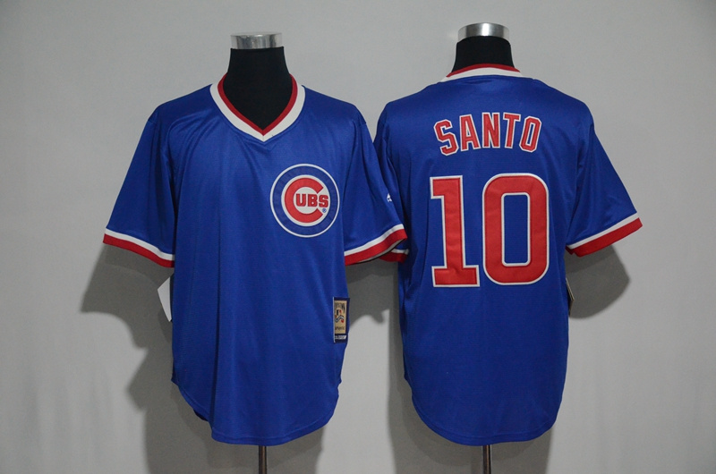 2017 MLB Chicago Cubs 10 Santo Blue Throwback Jersey