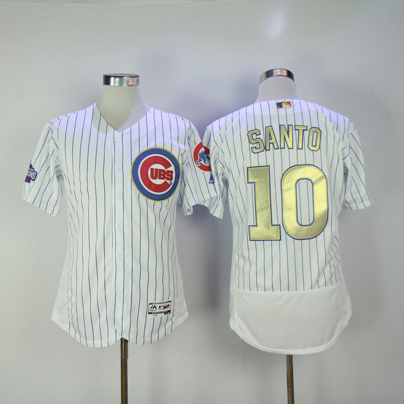 2017 MLB Chicago Cubs 10 Santo CUBS White Gold Program Throwback Elite Jersey