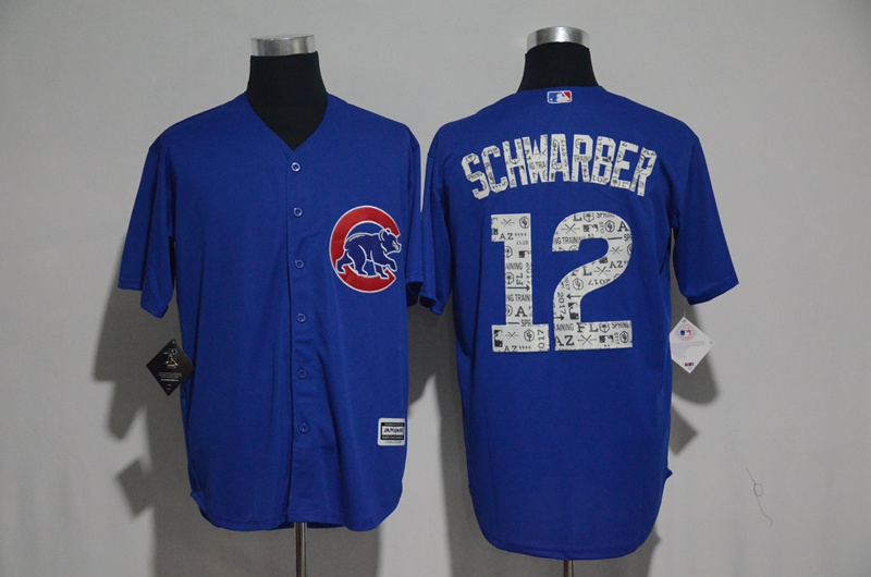 2017 MLB Chicago Cubs 12 Schwarber Blue Fashion Edition Jerseys