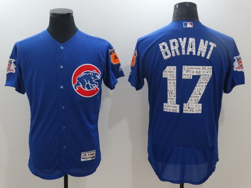 2017 MLB Chicago Cubs 17 Bryant Blue Jerseys