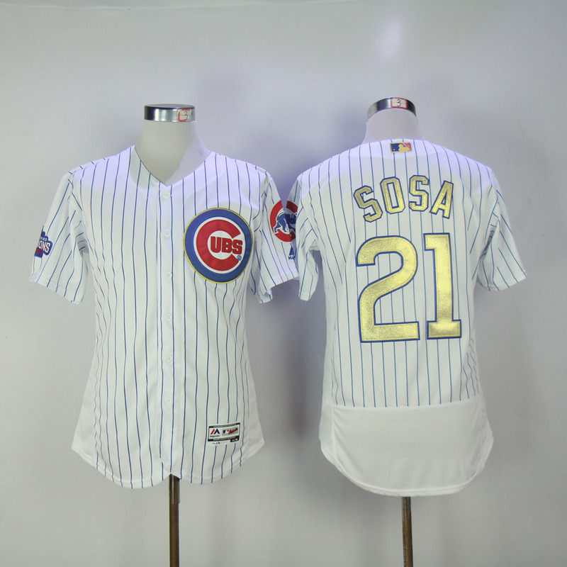 2017 MLB Chicago Cubs 21 Sosa CUBS White Gold Program Throwback Elite Jersey