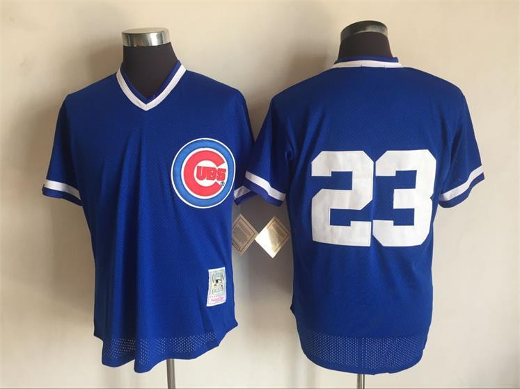 2017 MLB Chicago Cubs 23 Ryne Sandberg Blue Throwback Jerseys