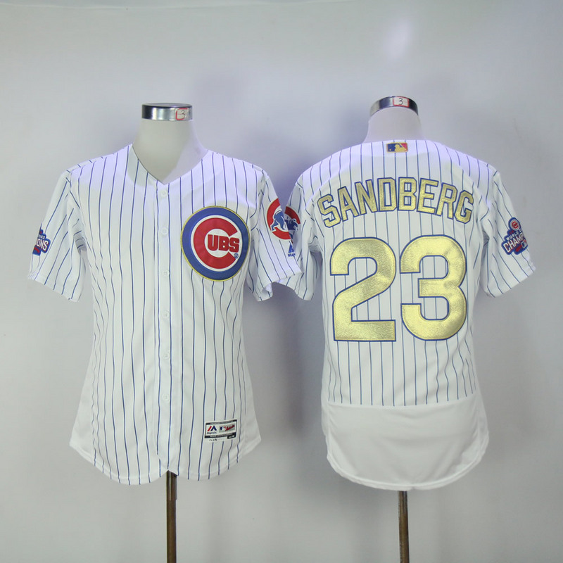 2017 MLB Chicago Cubs 23 Sandberg CUBS White Gold Program Throwback Elite Jersey
