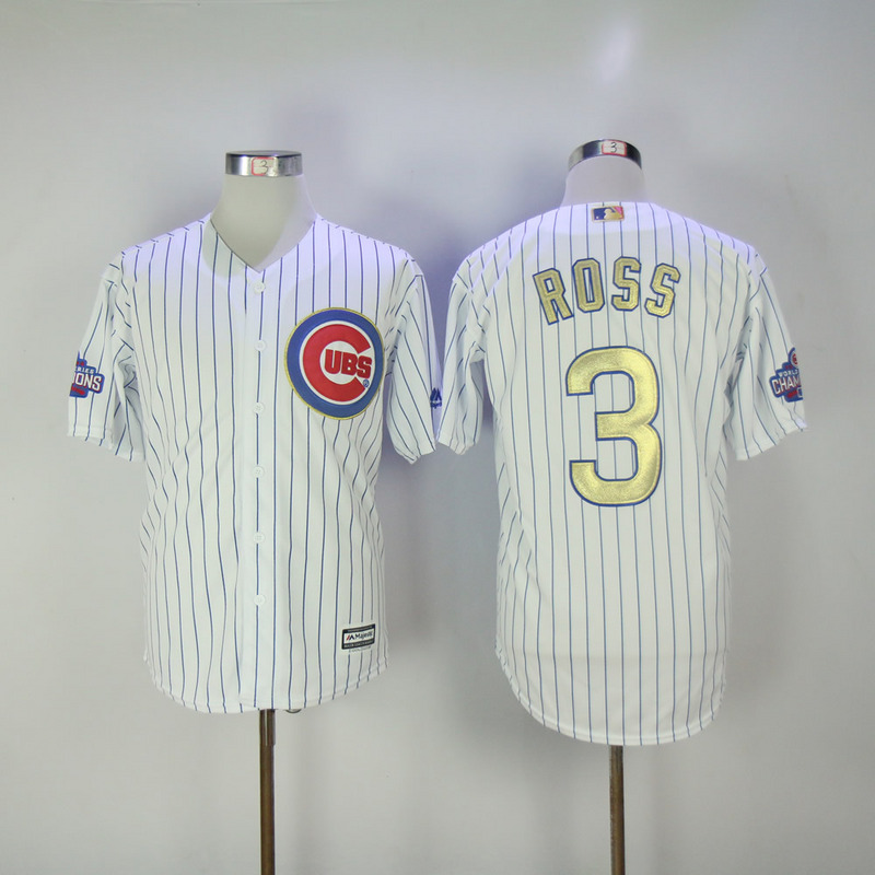 2017 MLB Chicago Cubs 3 Ross CUBS White Gold Program Game Jersey