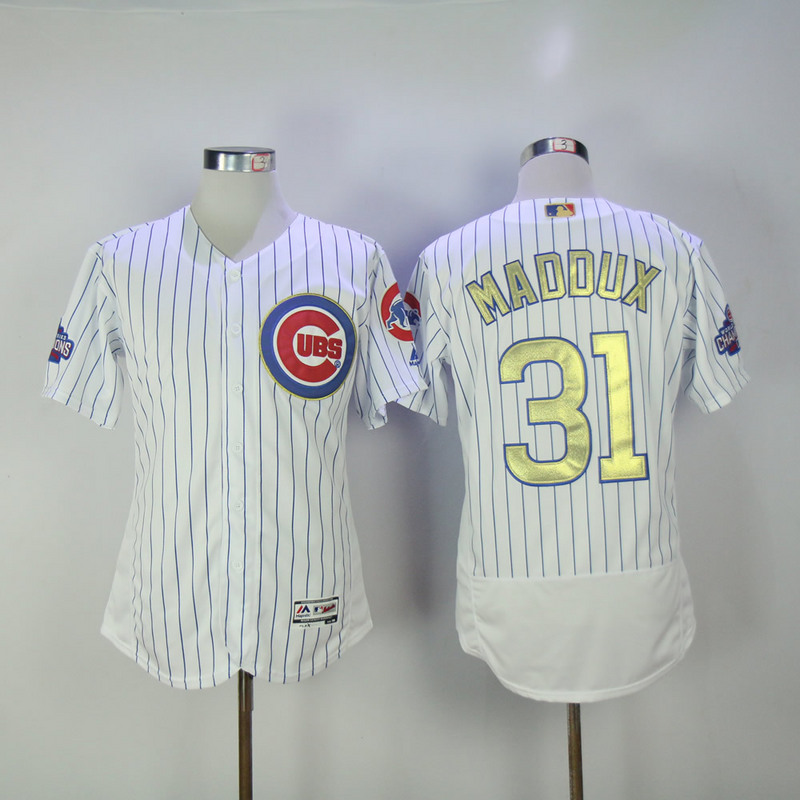 2017 MLB Chicago Cubs 31 Maddux CUBS White Gold Program Throwback Elite Jersey