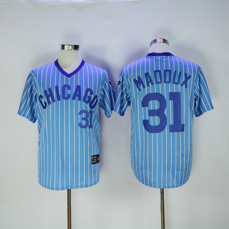 2017 MLB Chicago Cubs 31 Madoux Blue White stripe Throwback Jerseys