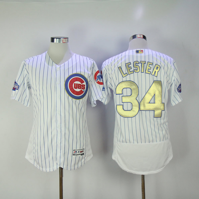 2017 MLB Chicago Cubs 34 Lester CUBS White Gold Program Throwback Elite Jersey