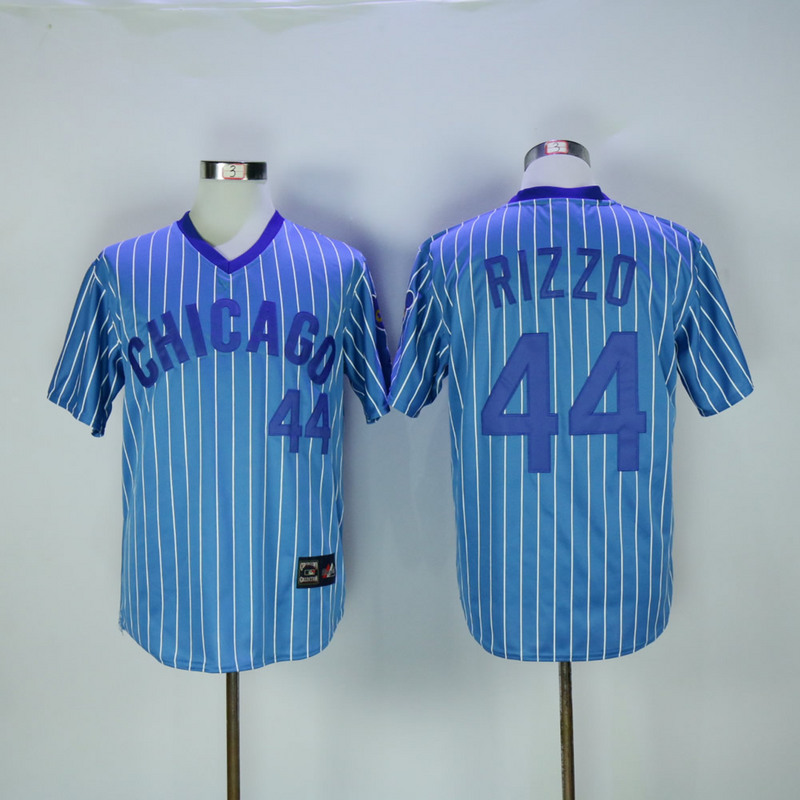 2017 MLB Chicago Cubs 44 Rizzo Blue White stripe Throwback Jerseys