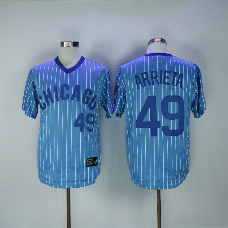 2017 MLB Chicago Cubs 49 Arrieta Blue White stripe Throwback Jerseys