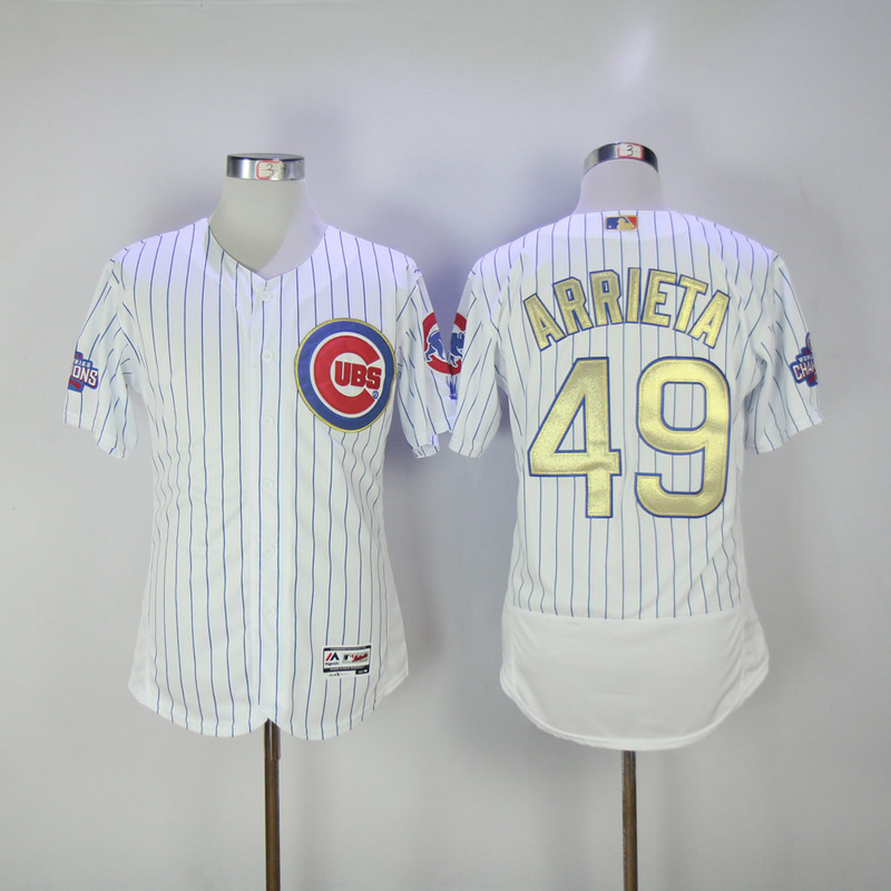 2017 MLB Chicago Cubs 49 Arrieta CUBS White Gold Program Elite Jersey