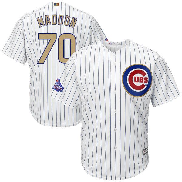 2017 MLB Chicago Cubs 70 Maddon CUBS White Gold Program Game Jersey