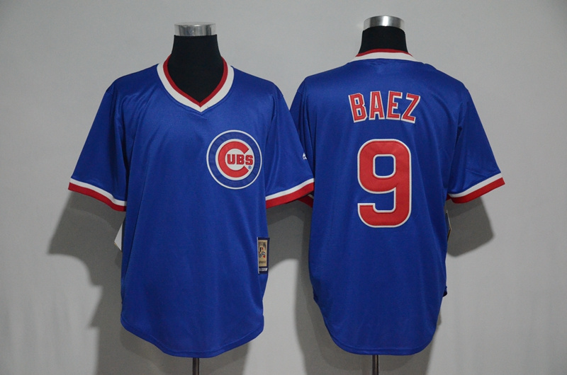 2017 MLB Chicago Cubs 9 Baez Blue Throwback Jersey