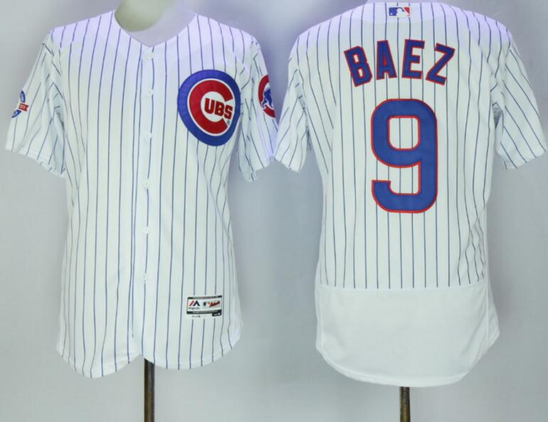 2017 MLB Chicago Cubs 9 Baez white jerseys